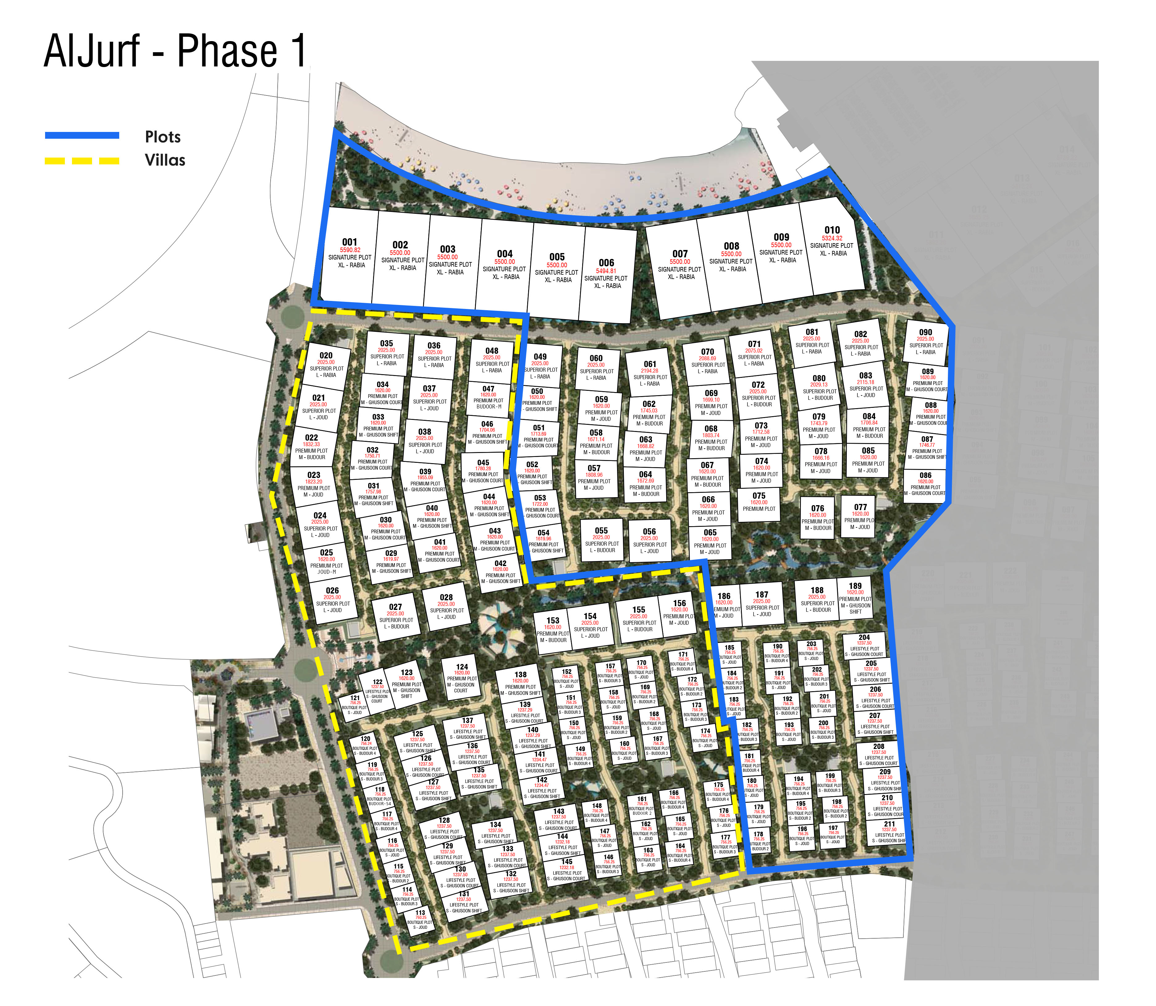 Aljurf Villas & Land Plots Phase 1 Master Plan